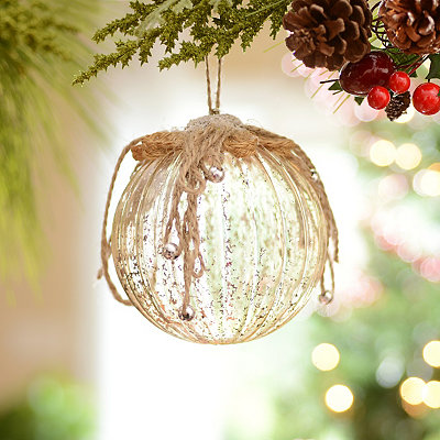 Mercury Finish Orb Ornament with Rope Details
