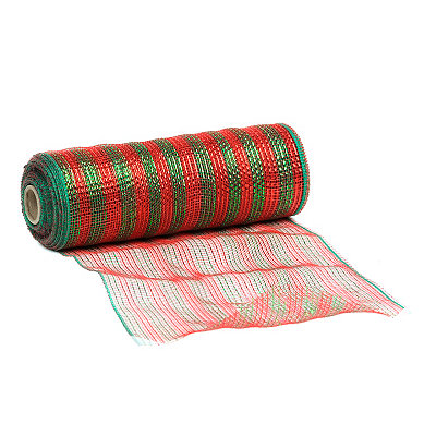 Green & Red Stripe Mesh Ribbon