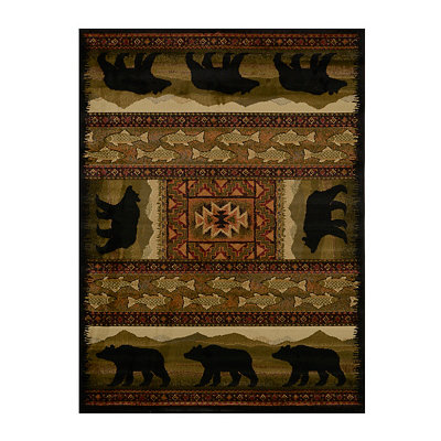 Black Bears Area Rug, 5x7