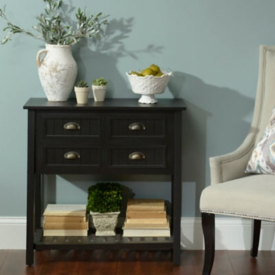 Black Beadboard Console Table