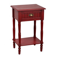 Red Beadboard Accent Table