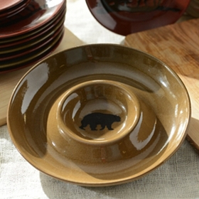 Brown Woodland Bear Chip and Dip Bowl