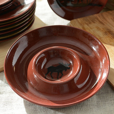 Red Woodland Moose Chip and Dip Bowl
