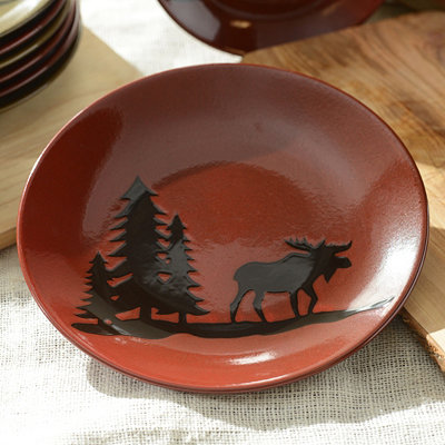 Red Woodland Moose Dinner Plate