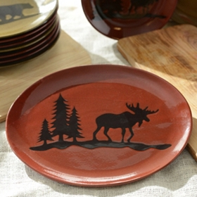 Red Woodland Moose Platter