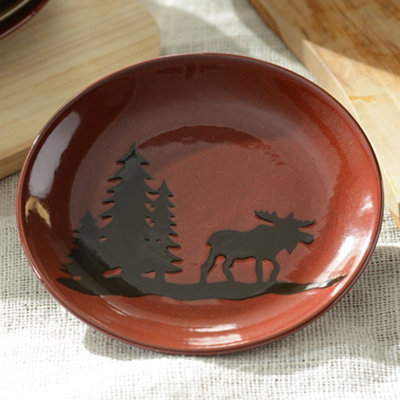 Red Woodland Moose Salad Plate