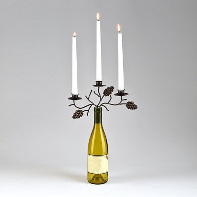 Pine Cone Wine Bottle Stopper Candelabra