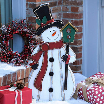 Bird Buddy Wooden Snowman Statue