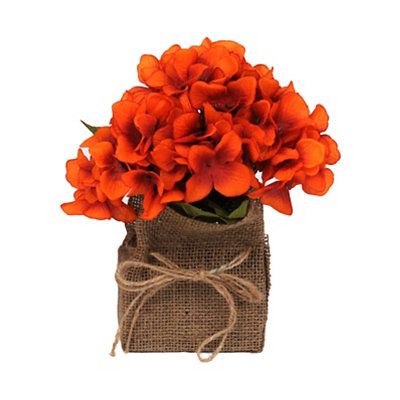 Orange Hydrangea Burlap Floral Arrangement