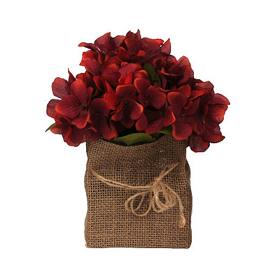 Red Hydrangea Burlap Floral Arrangement