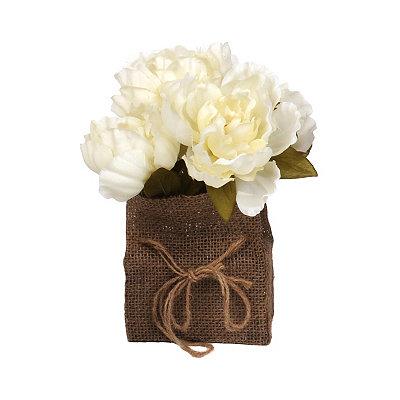 Cream Peony Burlap Floral Arrangement