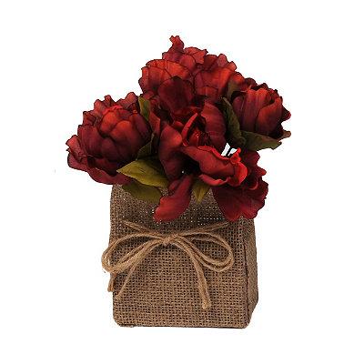 Red Peony Burlap Floral Arrangement