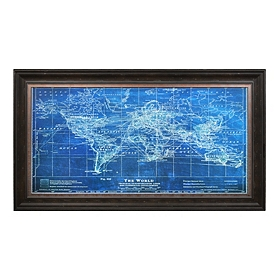 Azure World Map Framed Art Print