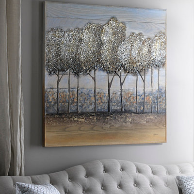 Textured Trees Wood Art Plaque