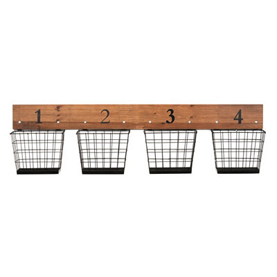 Numbered Wire Baskets Wall Storage