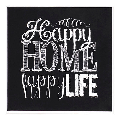 Happy Home Happy Life Chalk Art Coaster