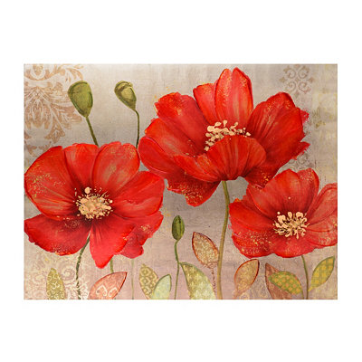 Red Poppy Spice Metallic Canvas Art Print