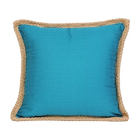 Teal Jute Linen Pillow