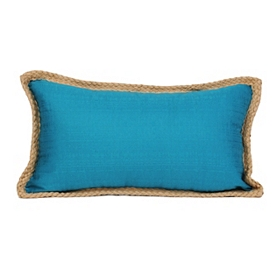Teal Jute Linen Accent Pillow
