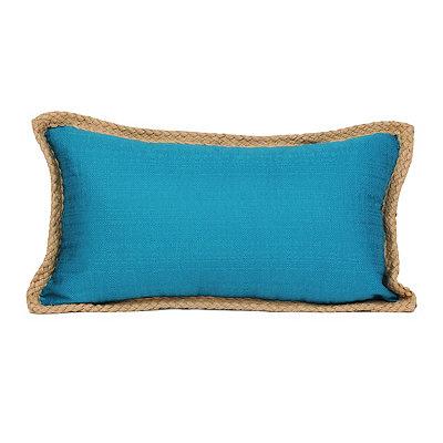 Teal Jute Linen Accent Pillow