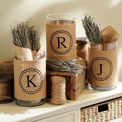 Burlap Monogram Vase