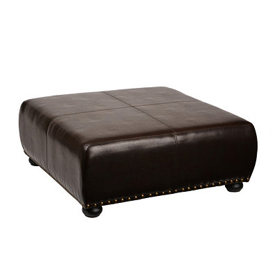 Brown Faux Leather Square Ottoman