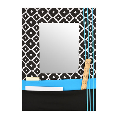 Turquoise Framed Mirror with Pockets, 17x24