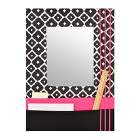 Pink Framed Mirror with Pockets, 17x24