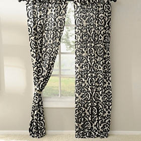 Black Darby Curtain Panel Set, 84 in.