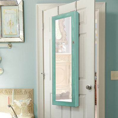 Distressed Turquoise Jewelry Armoire Mirror
