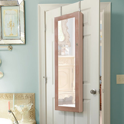 Distressed Natural Jewelry Armoire Mirror