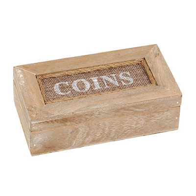 Natural Wood Coin Box