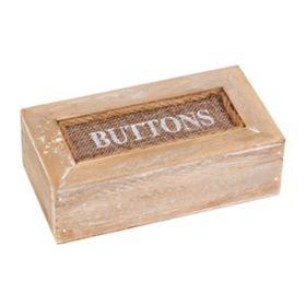 Natural Wood Button Box