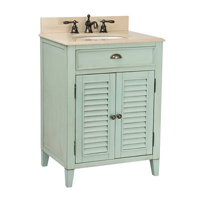 Light Blue Shutter Vanity Sink, 26in.