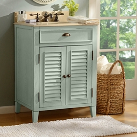 Light Blue Shutter Vanity Sink, 26in.