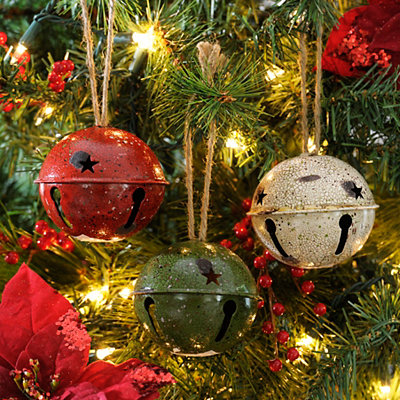 Rustic Jingle Bell Ornaments, Set of 3