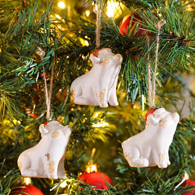Ivory Jolly Pig Ornaments, Set of 3