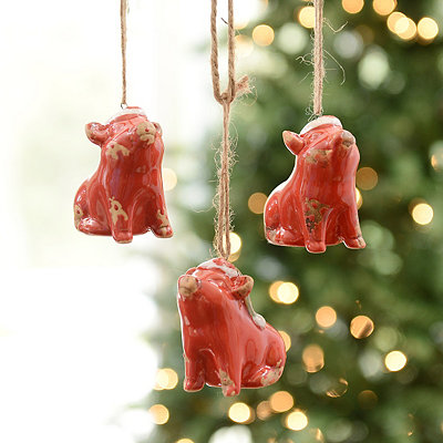 Red Jolly Pig Ornaments, Set of 3