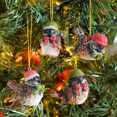 Flocked Snow Bird Ornaments, Set of 4