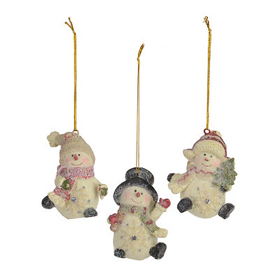 Skating Snowmen Ornaments, Set of 3