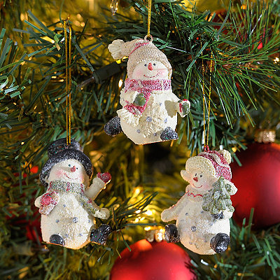 Skating Snowmen Ornaments, Set of 3