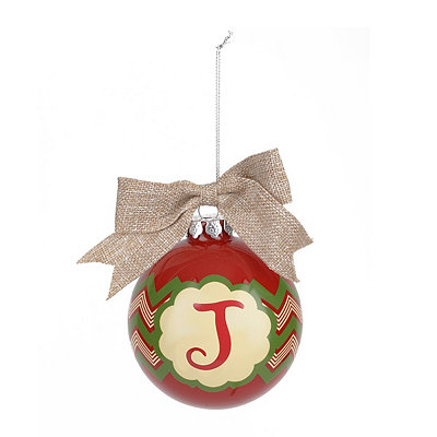 Red & Green Burlap Monogram J Ornament