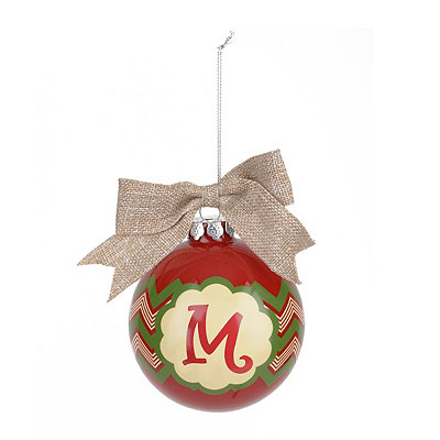 Red & Green Burlap Monogram M Ornament