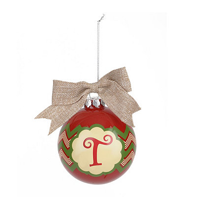 Red & Green Burlap Monogram T Ornament