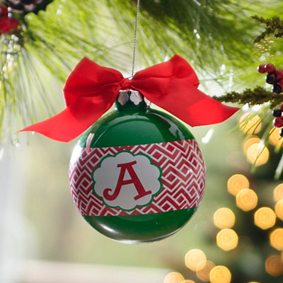 Red & Green Monogram A Ornament