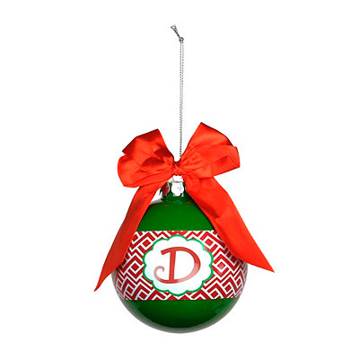 Red & Green Monogram D Ornament