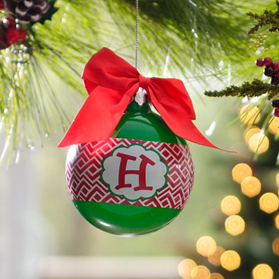 Red & Green Monogram H Ornament