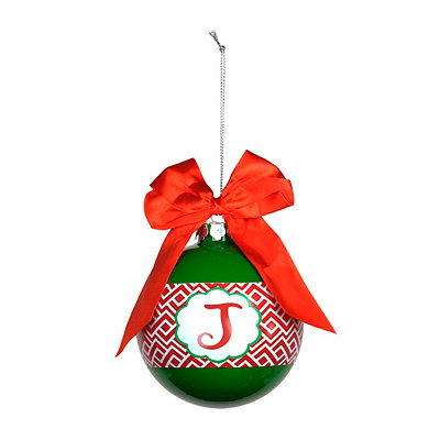 Red & Green Monogram J Ornament