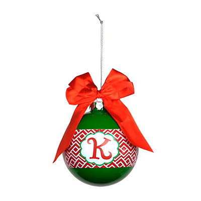 Red & Green Monogram K Ornament