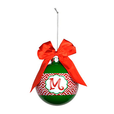 Red & Green Monogram M Ornament